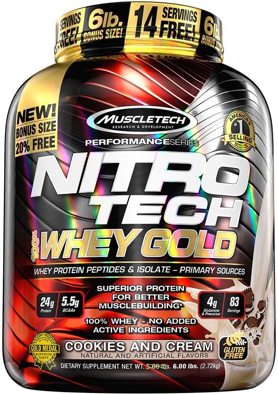 Nitro-Tech 100% Whey Gold, Cookies and Cream - 2720g versandkostenfrei/portofrei bestellen/kaufen