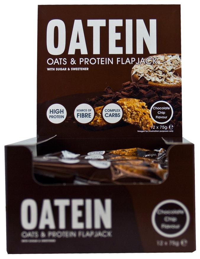 Oatein - Oats & Protein Flapjack, Chocolate Chip - 12 bars versandkostenfrei/portofrei bestellen/kaufen