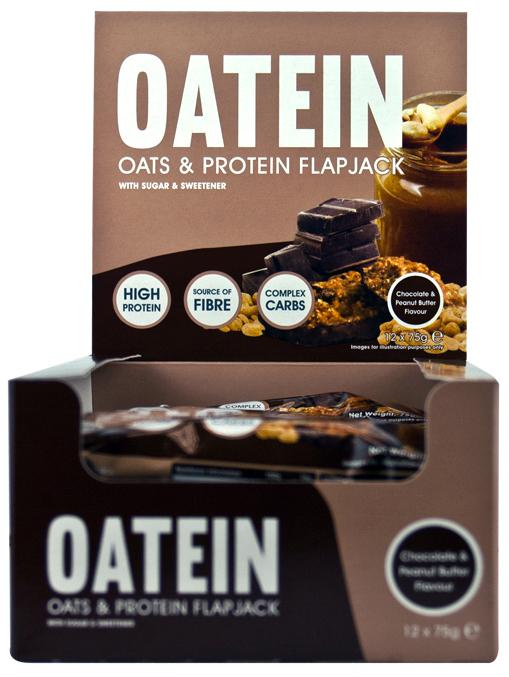 Oatein - Oats & Protein Flapjack, Chocolate & Peanut Butter - 12 bars versandkostenfrei/portofrei bestellen/kaufen