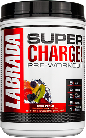 675g, 64,24 EUR/1Kg Labrada Super Charge  Pre-Workout, Fruit Punch - 675g