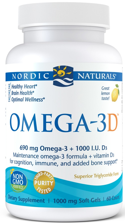 Omega-3D, 690mg Lemon - 60 softgels versandkostenfrei/portofrei bestellen/kaufen