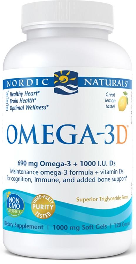 Omega-3D, 690mg Lemon - 120 softgels versandkostenfrei/portofrei bestellen/kaufen