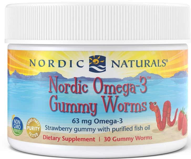 Nordic Omega-3 Gummy Worms, 63mg Strawberry - 30 gummy worms versandkostenfrei/portofrei bestellen/kaufen