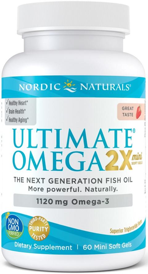 Ultimate Omega 2X Mini, 1120mg Strawberry - 60 mini softgels versandkostenfrei/portofrei bestellen/kaufen