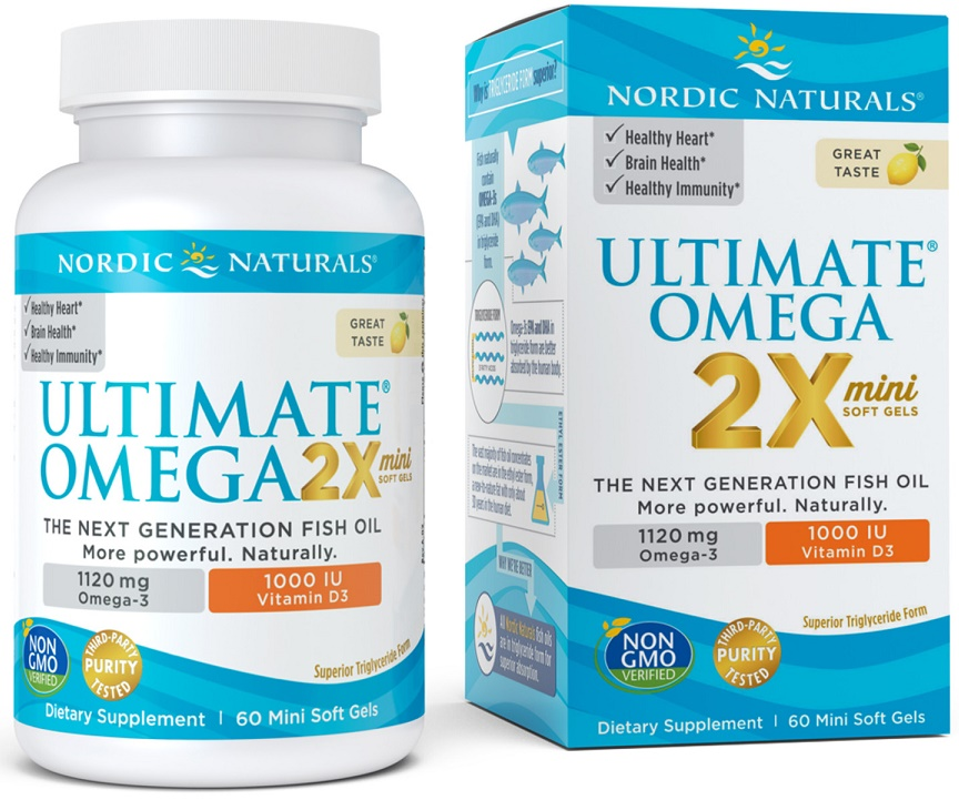 Ultimate Omega 2X Mini with Vitamin D3, 1120mg Lemon - 60 softgels versandkostenfrei/portofrei bestellen/kaufen